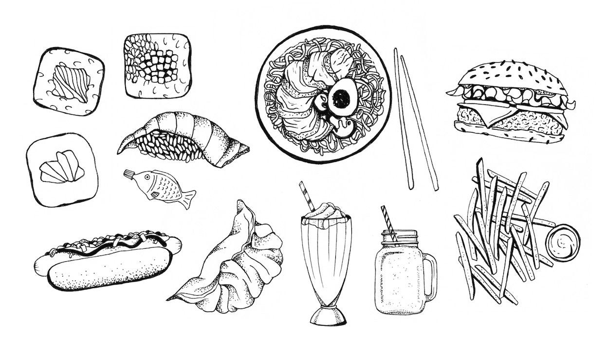 Lunch foods including sushi, a hotdog, and a milkshake
