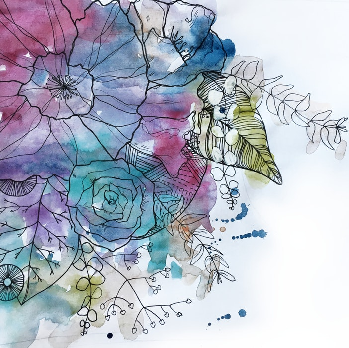 Watercolor flowers, twigs and leaves