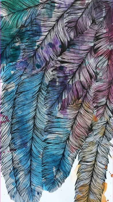 Tuft of multi-colored feathers