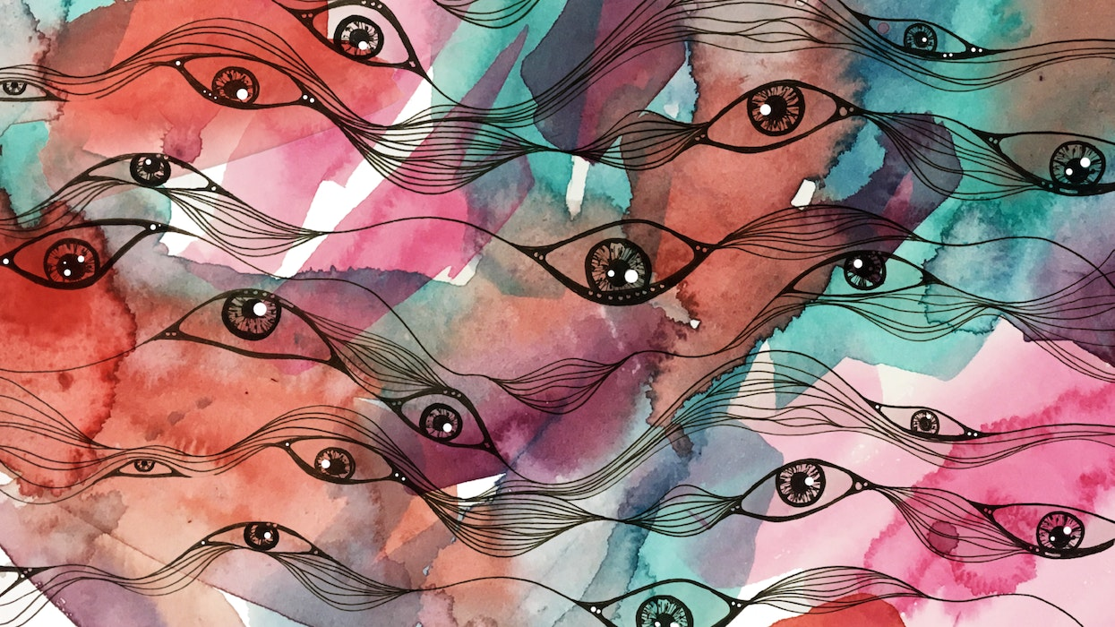 Abstract series of all-seeing eyes