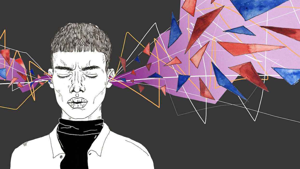 Person with brightly colored shapes exploding out of both ears