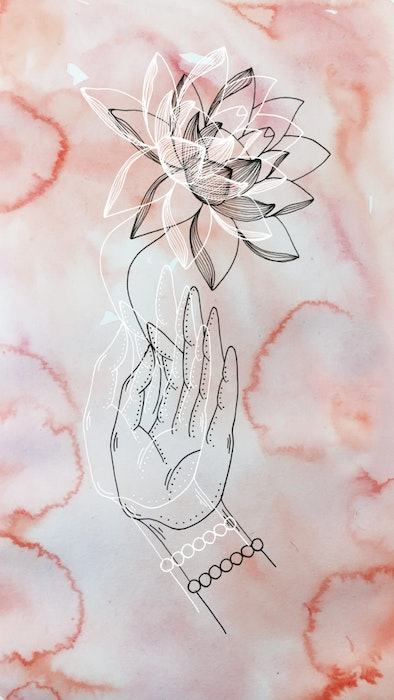 Hand carefully holding the stem of a flower