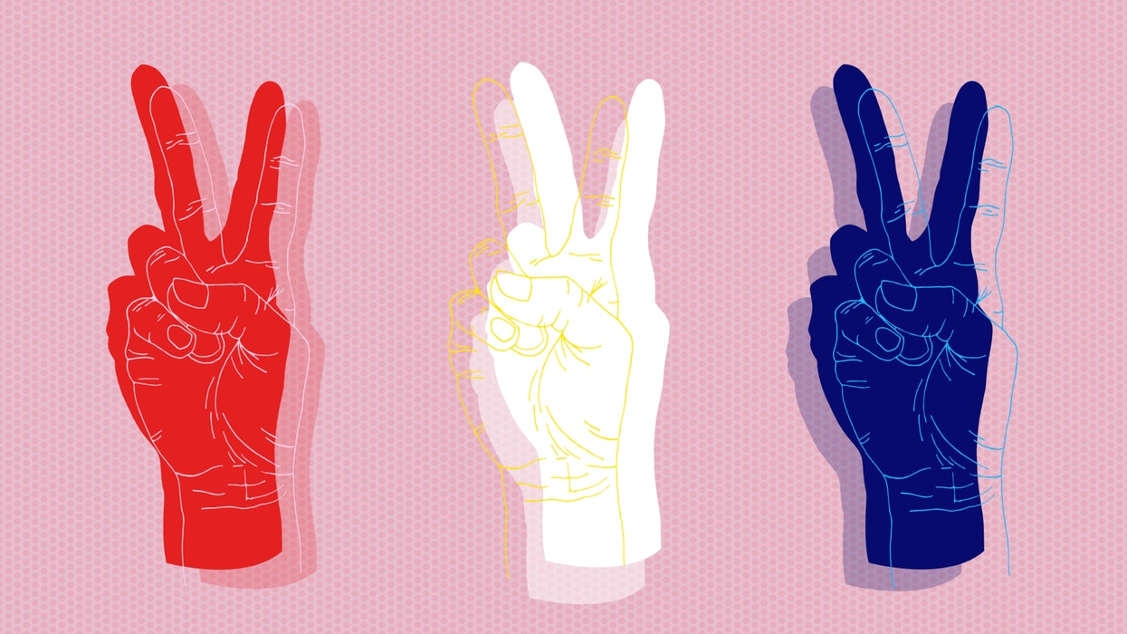 Three separate hands making the peace sign