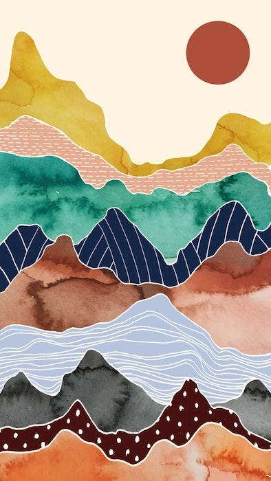 Colorful mountain range under a bright sun