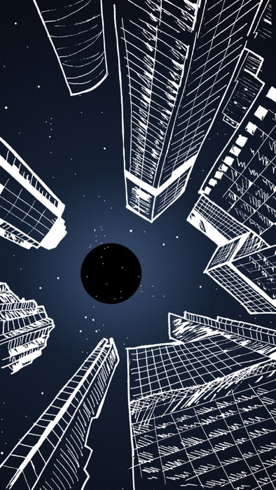 View of a night sky in the city