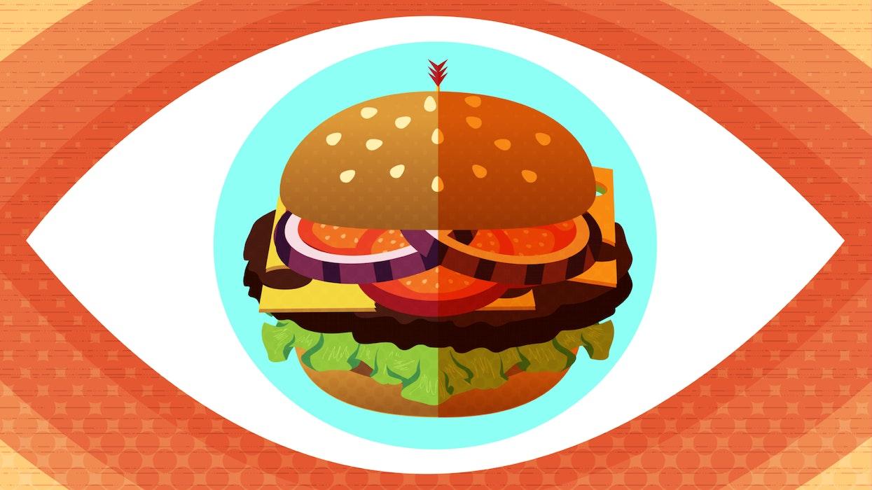 Cheeseburger at the centre of an eye
