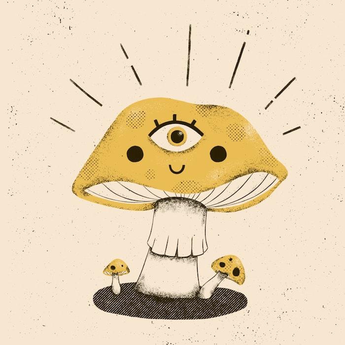 Surrealist happy mushroom