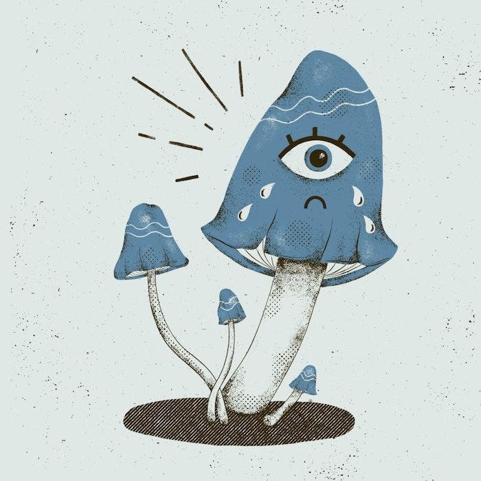 Surrealist sad mushroom