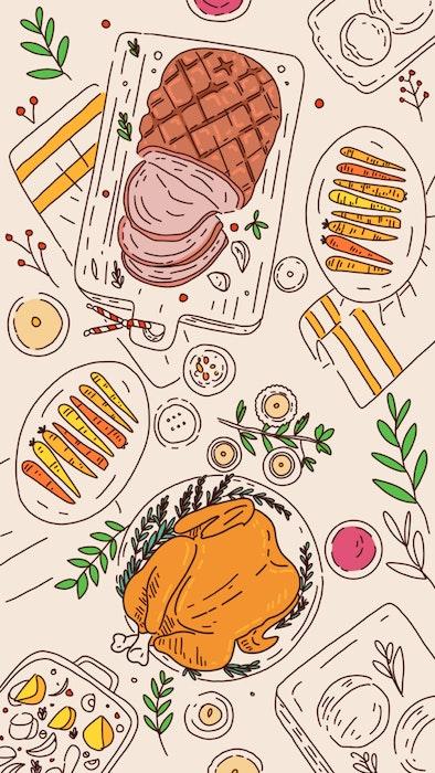 Christmas feast including ham, turkey and roast vegetables