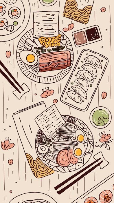 Feast of Japanese cuisine including Ramen and Gyoza