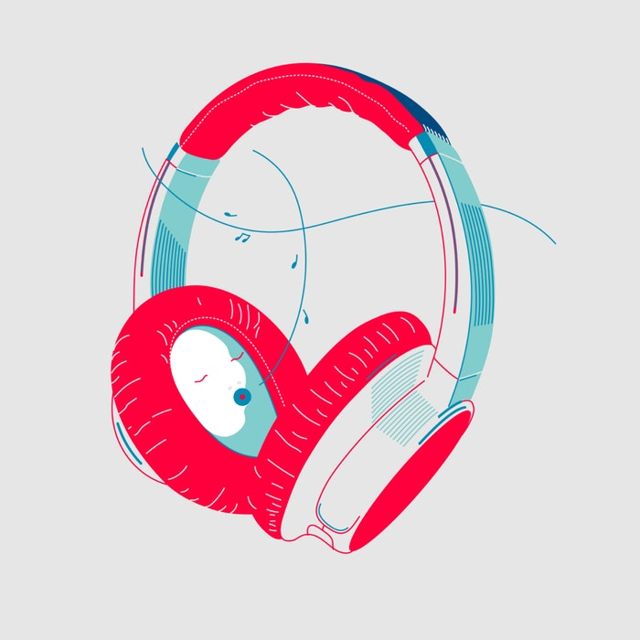 Headphones playing music