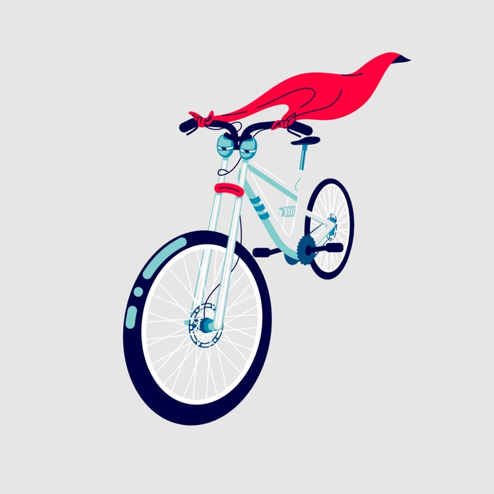 Blue bicycle with a red flowing cape
