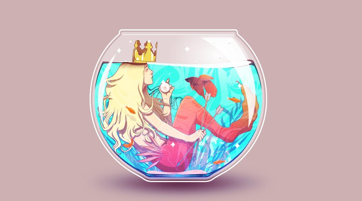 Mermaid sitting inside a small fishbowl