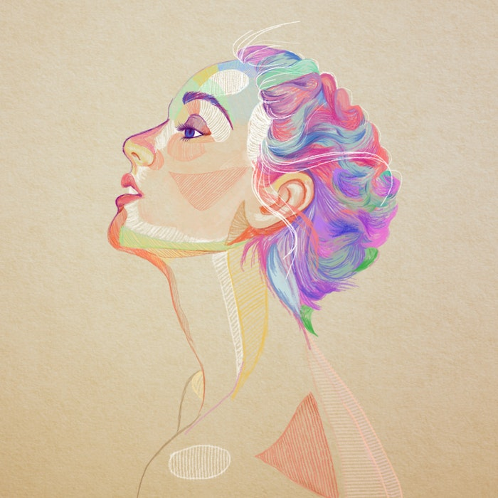 Woman with brightly colored hair