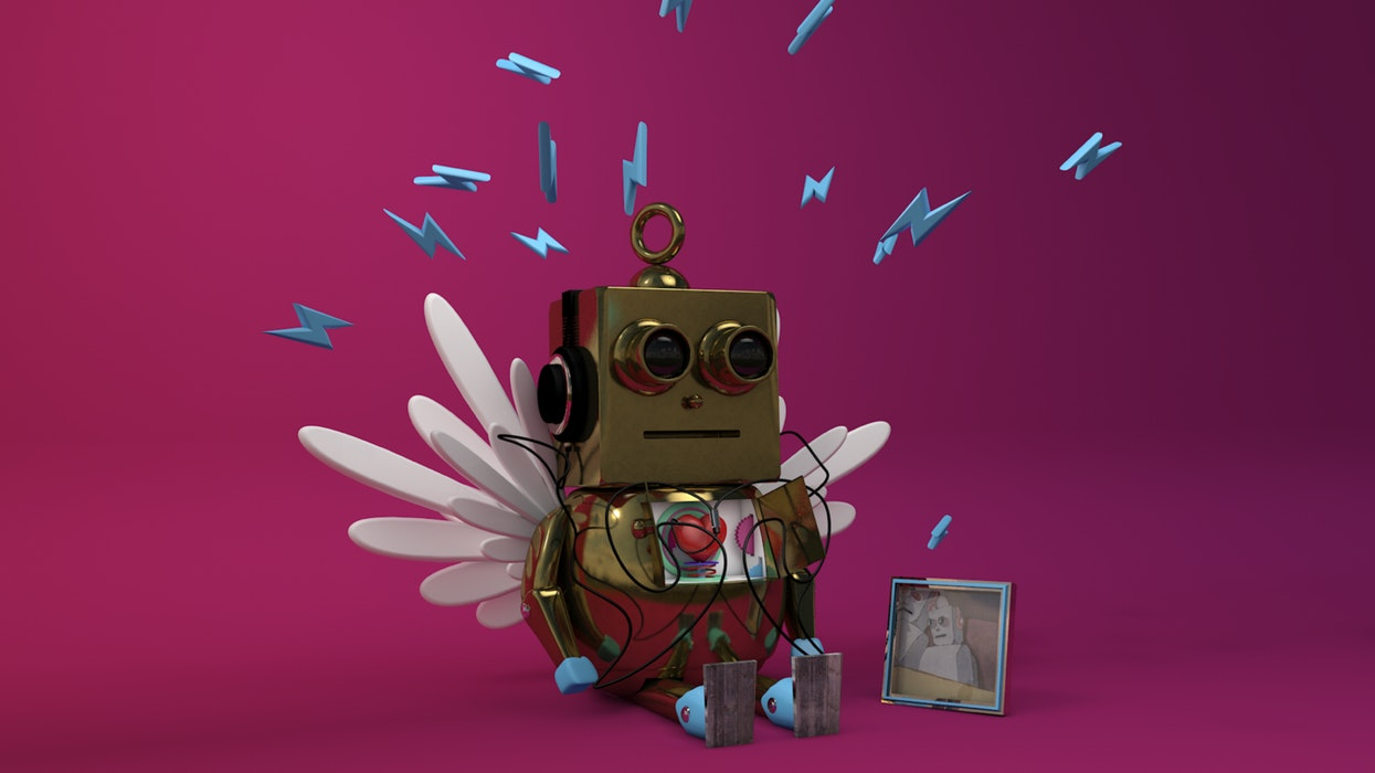 3-D image of a small robot with wings