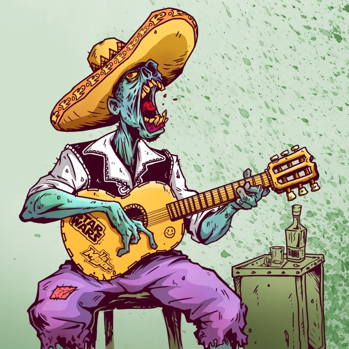 Zombie in a sombrero, playing the guitar