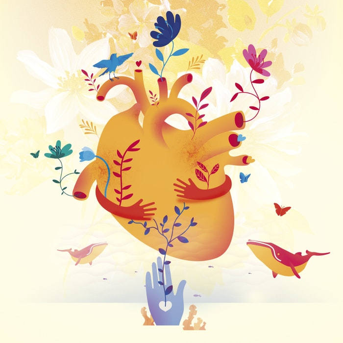 Surrealist human heart blooming with flowers