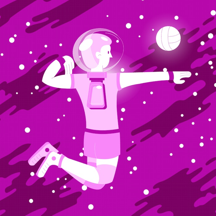 Young person in a helmet, floating in pink space
