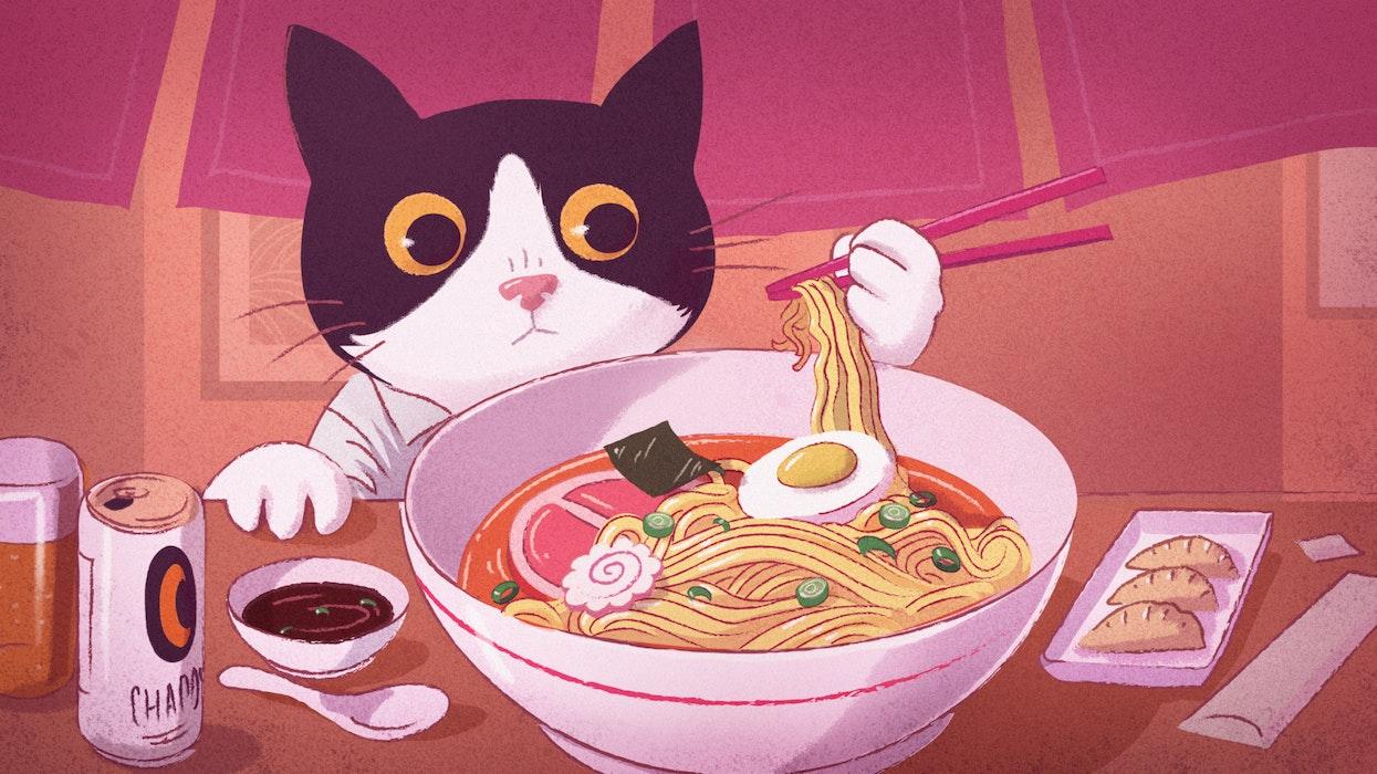 Cat using chopsticks to eat a bowl of ramen