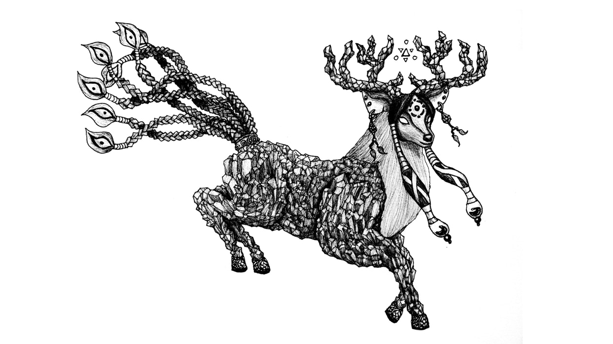Decorative, prancing deer