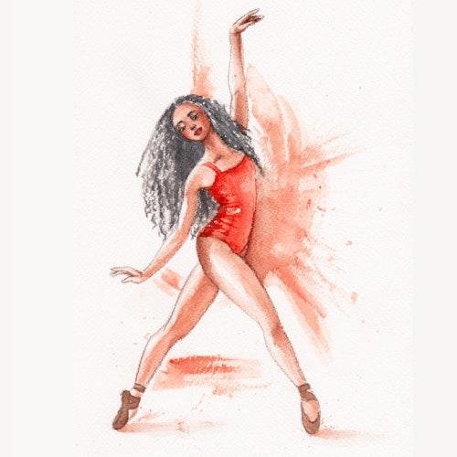 Ballerina dancing in a red leotard