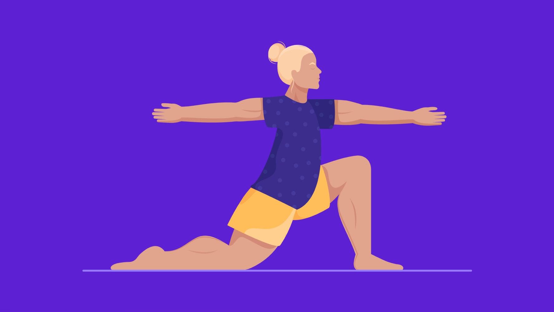 Woman doing yoga warrior pose