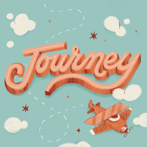 The word Journey featuring images of vintage airplane and clouds