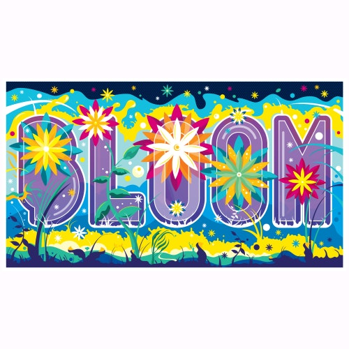 The word Bloom covered in bright flowers and colorful plants