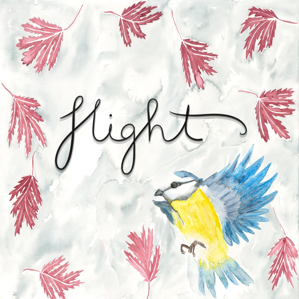 The word Flight with falling leaves and a flying bird