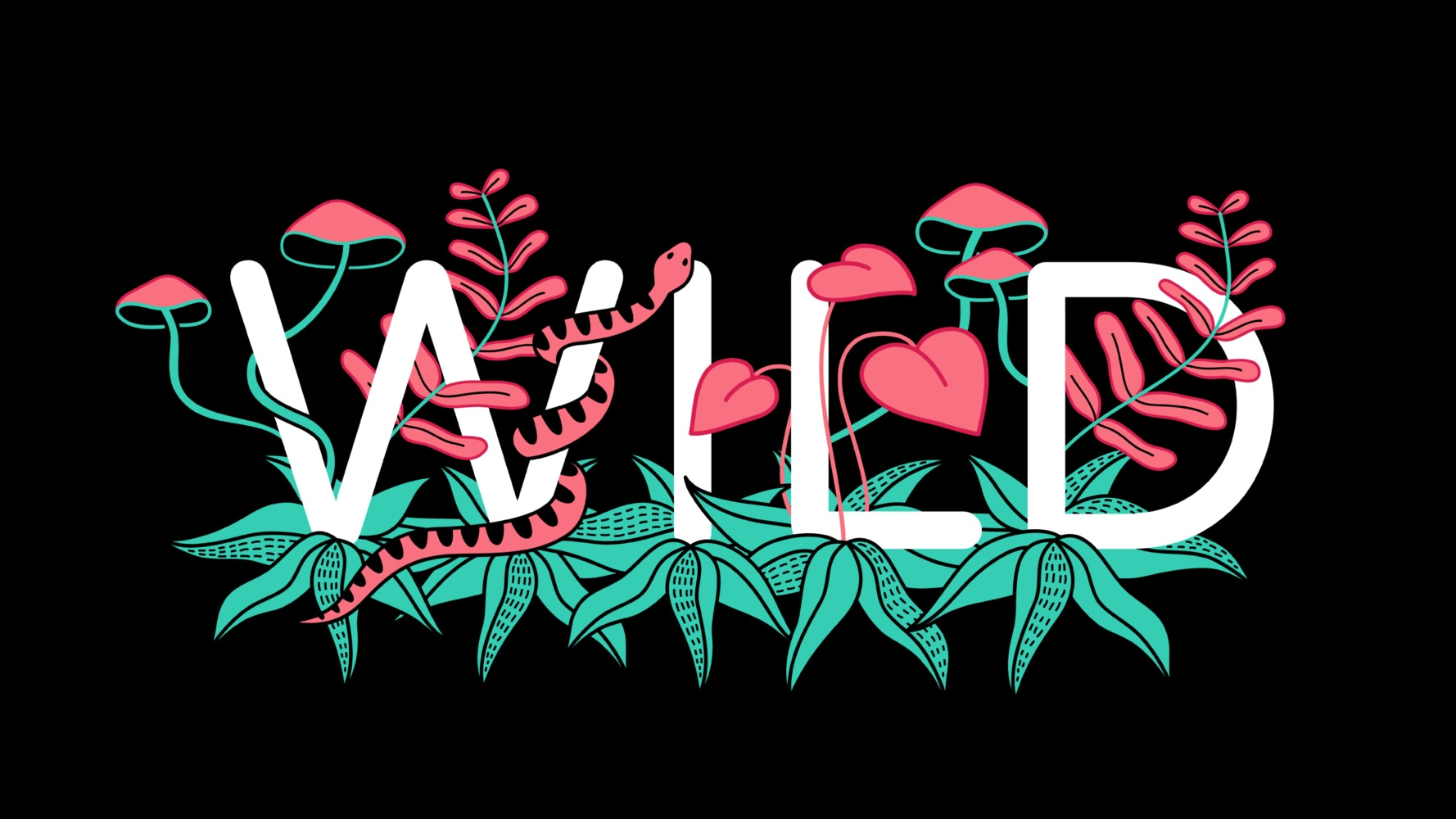 The word Wild with a snake and bright plants winding through the letters