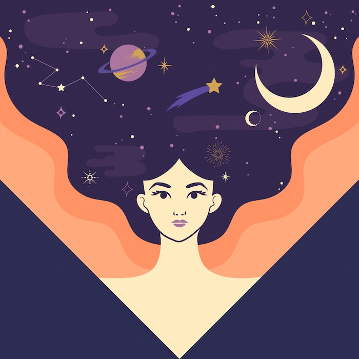 Powerful with the moon, stars, and planets in her flowing hair
