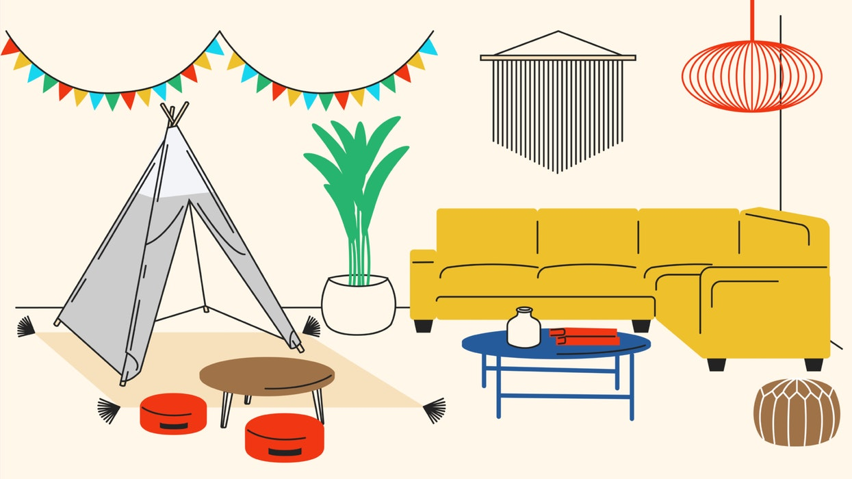 Modern family room furniture including a modular couch, plants, and a child's play tent