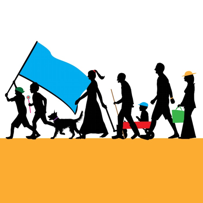 Silhouette of people of all ages marching in a line