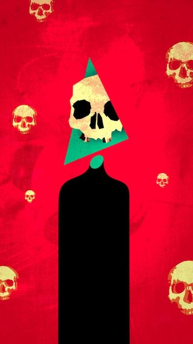 Series of spooky Halloween skulls