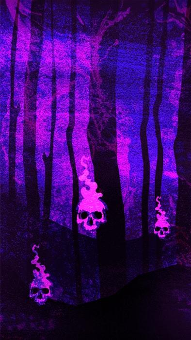 Menacing skulls in a haunted forest