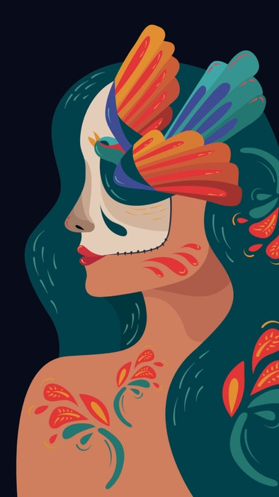 Woman with her face and body brightly decorated for Día de Muertos