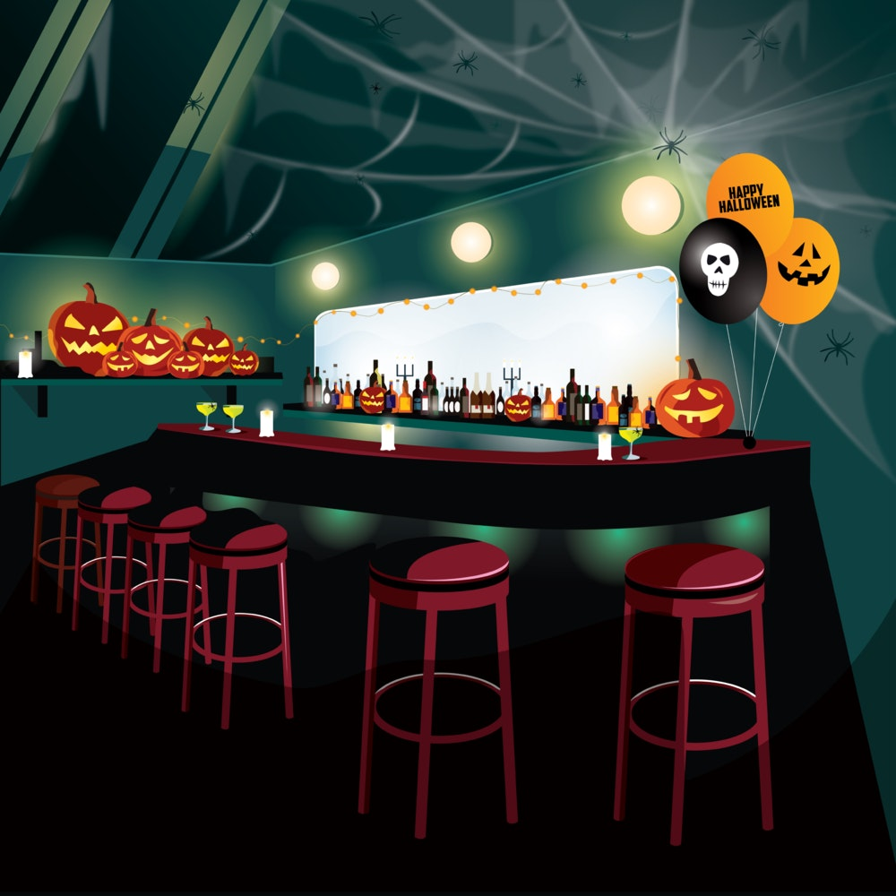 City bar decorated for a Halloween party