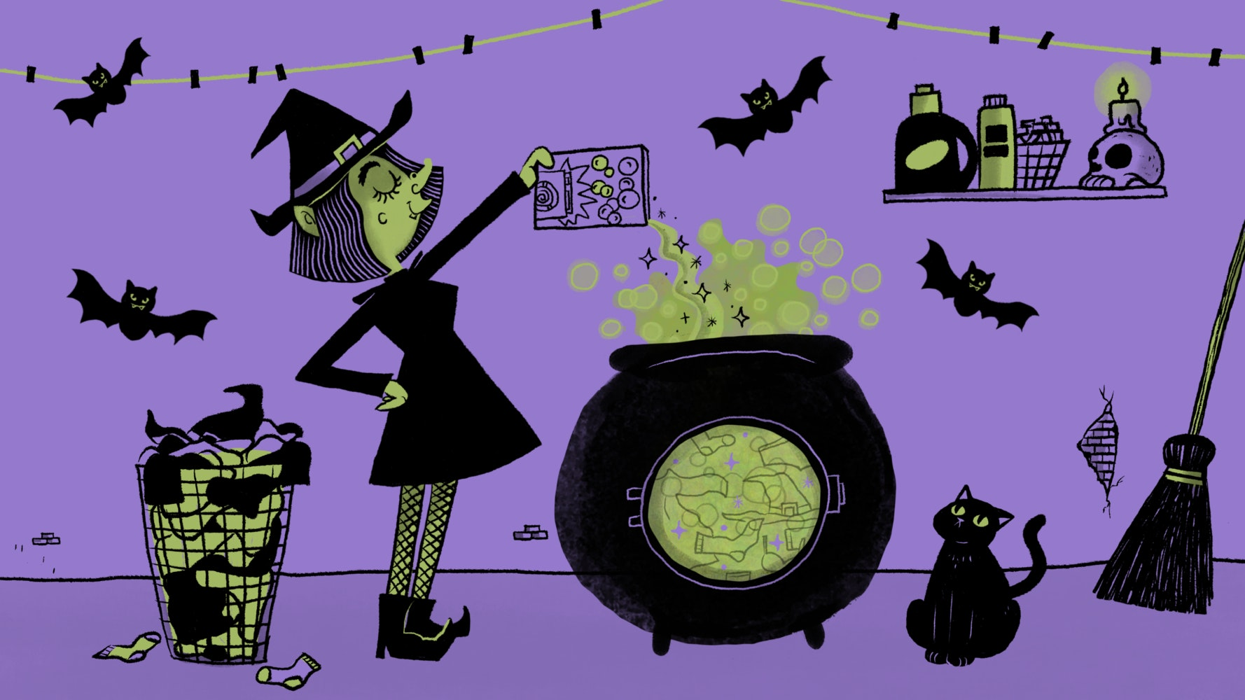 Halloween witch making a potion in a large cauldron