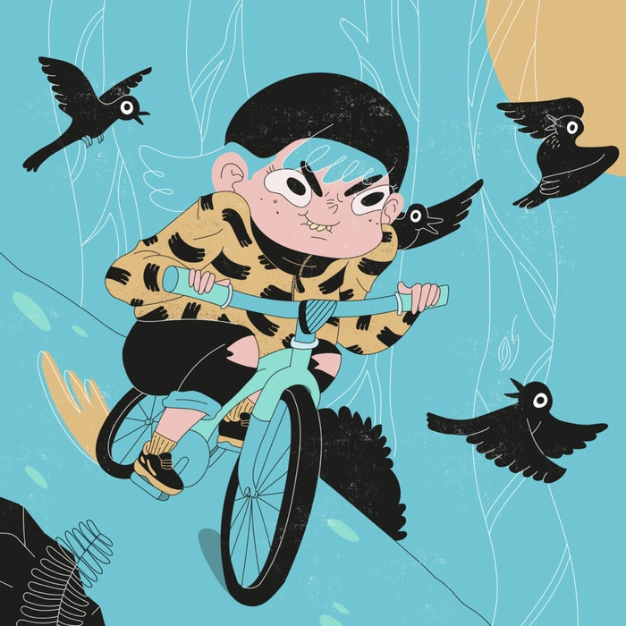 Cartoon-style child on a bicycle surrounded by flying black birds