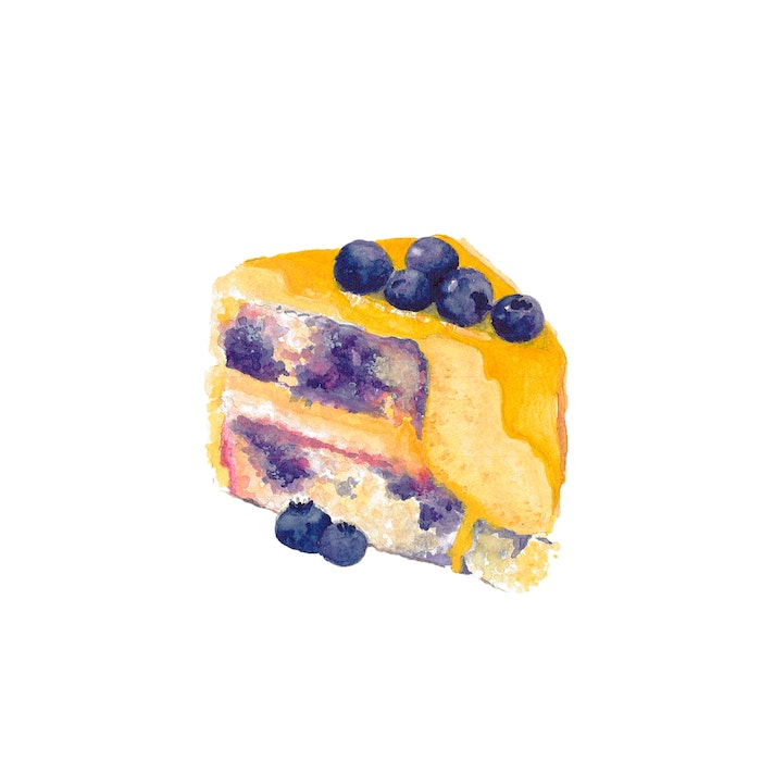 Yummy slice of lemon and blueberry cake with icing