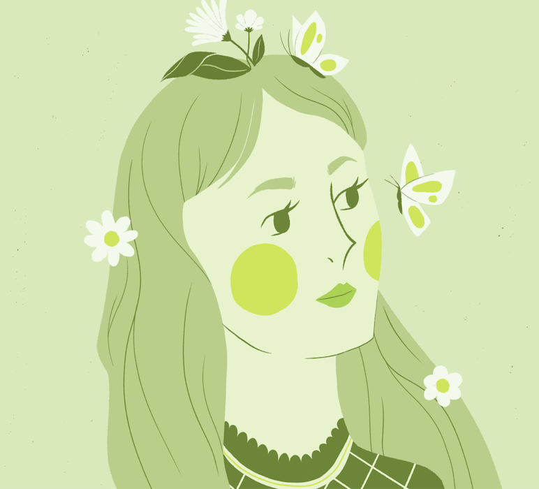 Woman with spring flowers in her hair