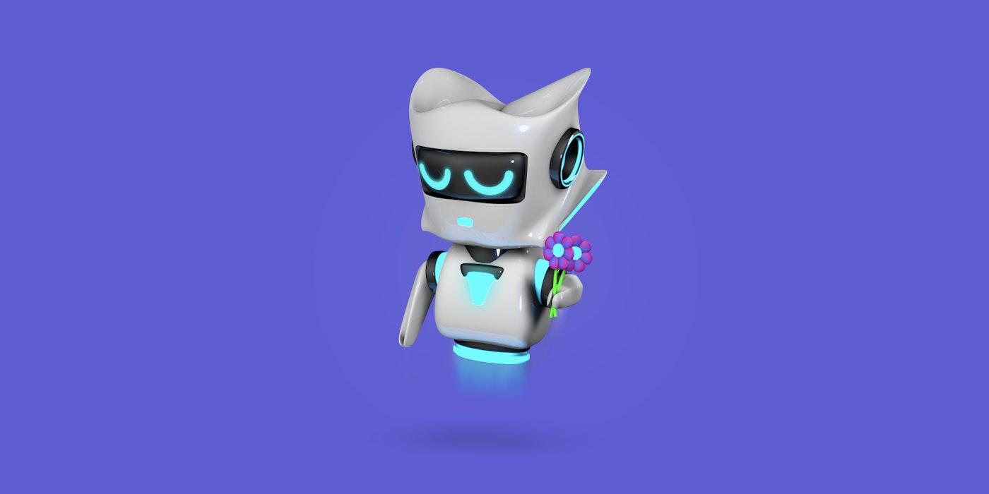 Robot arrepentido sosteniendo unas flores