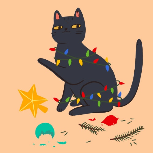 Cat tangled up in Christmas lights
