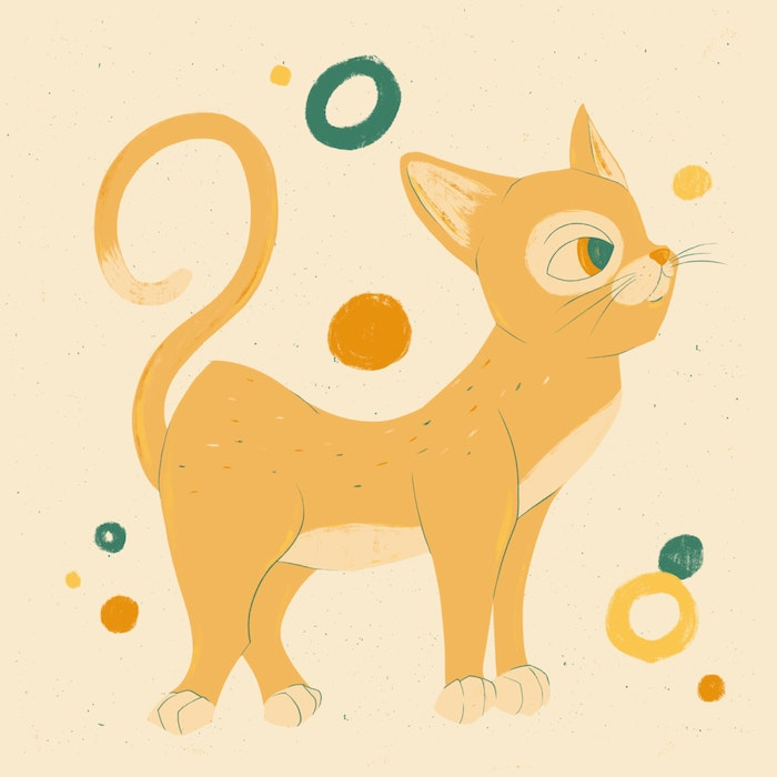 Festive cat with a high tail