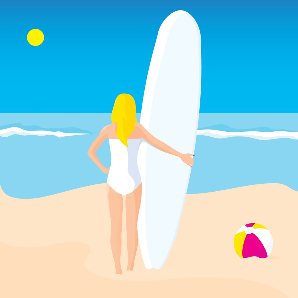 Woman on the beach with her surfboard, looking out at the ocean