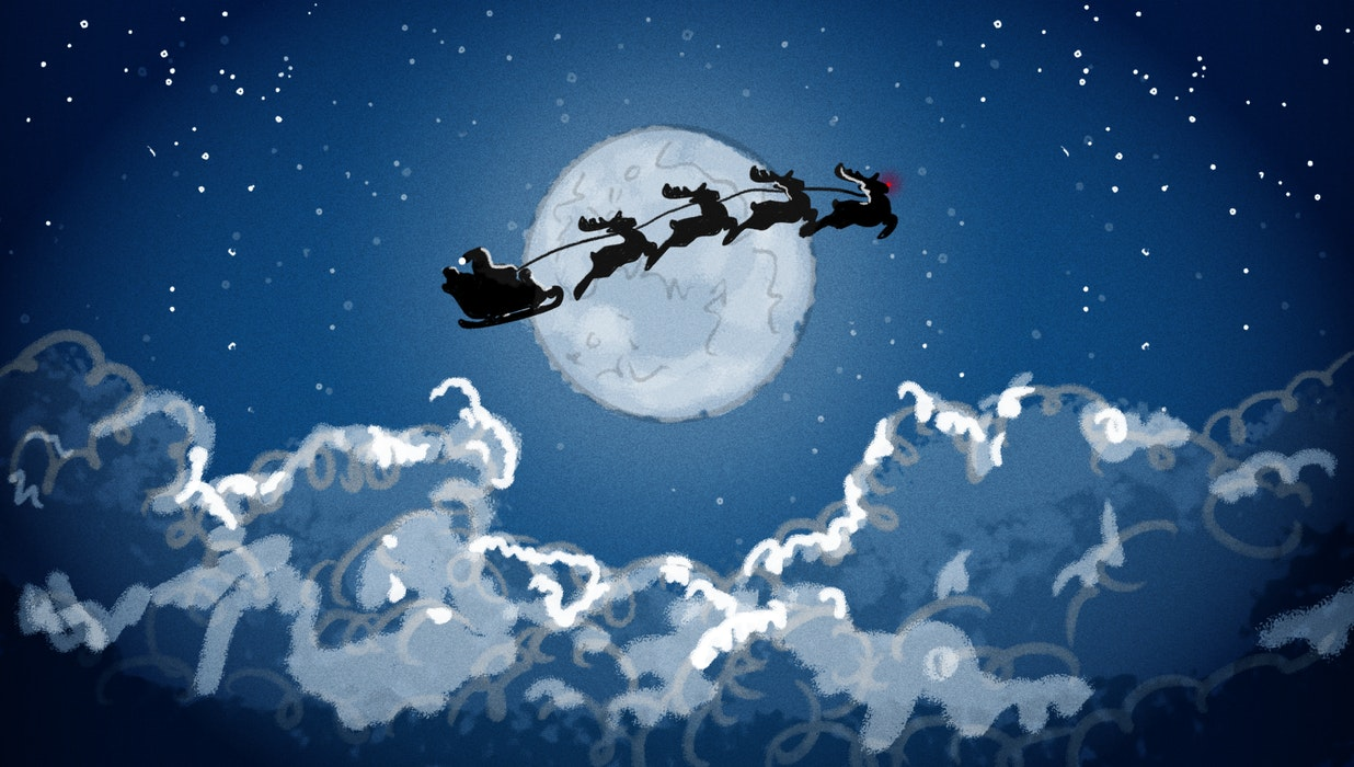 Santa and his reindeer flying past the moon on Christmas Eve