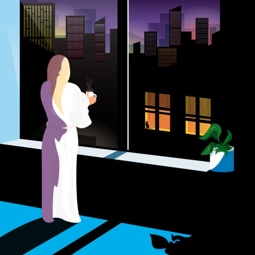 Woman in a robe staring out an apartment window, looking at the city skyline