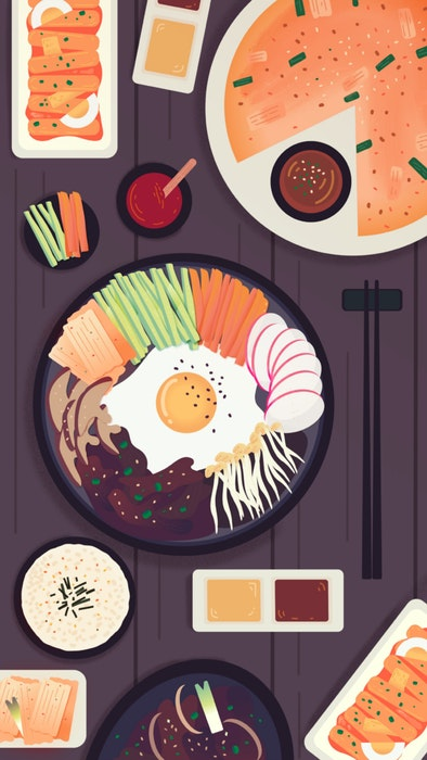 Table with various Korean foods