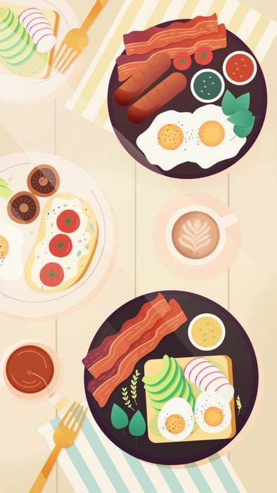 Plates of breakfast and brunch food