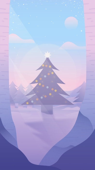 Christmas tree with twinkling lights in a snowy landscape